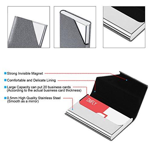 DMFLY Business Card Holder, Business Card Case, Business Card Holder for Women and Men, Business Card Holder for Purse, Business Card Case Women, Magnetic Shut (Gray) Photo #5