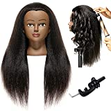 African American Mannequin Head 20'-22' Real Hair Manikin Head Hairdresser Cosmetology Doll Head for Styling Dye Cutting Braiding Practice with Clamp Natrual Black Real Hair