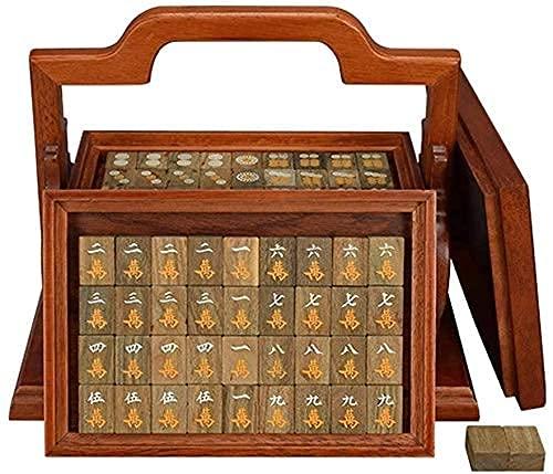 Mahjong Set 144 Mah Jong con Mat Box Juegos de Mahjong Tradicionales Chinos Mahjong Tile Set Juego de Mesa Juego de Mahjong Chino Bonito Regalo Adecuado para la colección