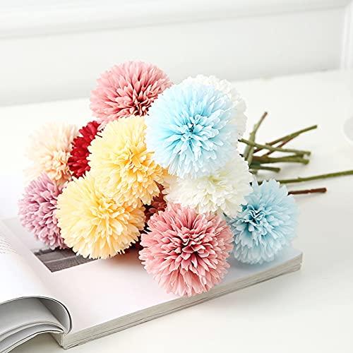 Flores de Hortensia Artificial Ramos de Flores Artificiales de Crisantemo de Seda Pequeña Bola de Flores para Decoración de Oficina del Jardín del Hogar Ramos de Novia Arreglos Florales 12 Piezas