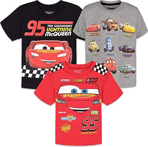 Disney Cars Lightning McQueen Toddler Boys 3 Pack Short Sleeve Graphic T-Shirt 3T