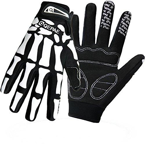 YYGIFT Vollfinger-Fahrradhandschuhe, rutschfest, Mountainbike-Handschuhe, Rennrad-Handschuhe mit Gel-Pad, Skelett-Muster, XL