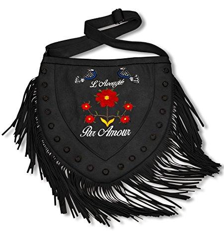 Damen Fransen Handtasche Schultertasche in Herzform Lederimitat mit Vögel und Blumen Stickerei, Farbe:Schwarz, Größe:One Size