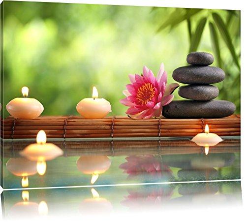 Herrliche Seerose mit Zen Steinen im Tempel Format: 120x80 auf Leinwand, XXL riesige Bilder fertig gerahmt mit Keilrahmen, Kunstdruck auf Wandbild mit Rahmen, günstiger als Gemälde oder Ölbild, kein Poster oder Plakat