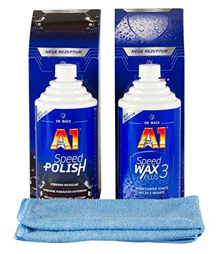 A1 DR. WACK Speed Polish 250 ml Speed Wax Plus 3 250 ml & Mikrofasertuch