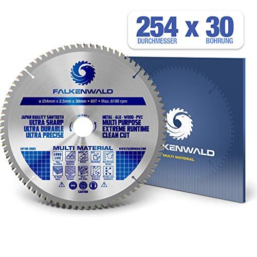 FALKENWALD ® Kreissägeblatt 254 x 30 mm - Ideal für Holz, Metall & Alu - Kappsägeblatt kompatibel mit Gehrungssäge & Tischkreissäge von Bosch & Metabo - Universal Sägeblatt aus hochwertigem Hartmetall