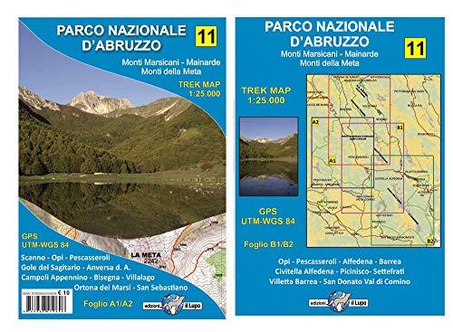 Carta escursionistica Parco Nazionale d'Abruzzo. Monti Marsicani, Mainarde, Monti della Meta. Trek map. Scala 1:25.000