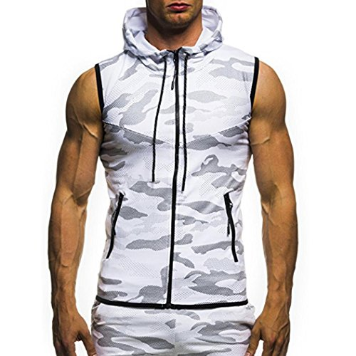 Pingtr Mens Slim Fit Muscle T Shirts Mens Summer Camouflage Print Hooded Sleeveless T Shirt Sports Athletic Running Jogging Gym Fitness Exercises Tee Tops Vest Blouse White M