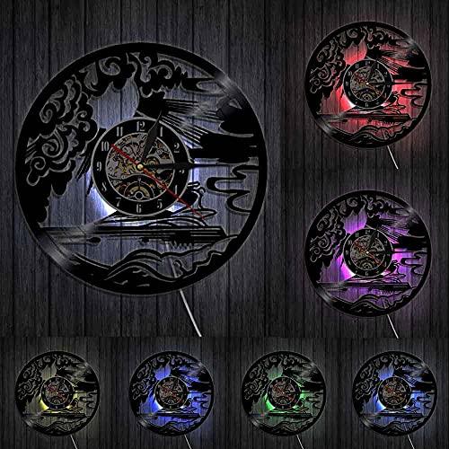 GVSPMOND Yate Deportes Reloj de Pared Vela Vela Disco de Vinilo Reloj de Pared Marinero Vela decoración del hogar Marinero Reloj silencioso