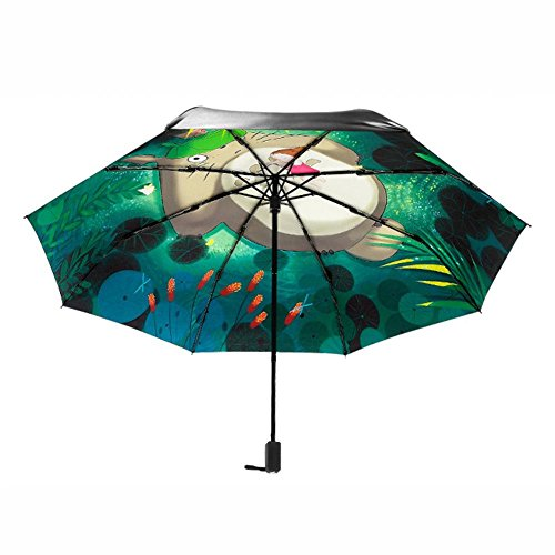 Schirm, faltbar, UV-Schutz, Sonnenschirm, Sonnensegel Totoro und Xiaomei Sonnenschirm, Tri-Fold Sonnenschirm, bruchsicher, kompakt
