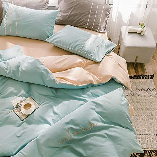 Chuanglanja dekbedovertrek voor tweepersoonsbed, gewatteerd, voor bed met 1,2 m breedte, 3-delige set, puur katoen, lichtgroen