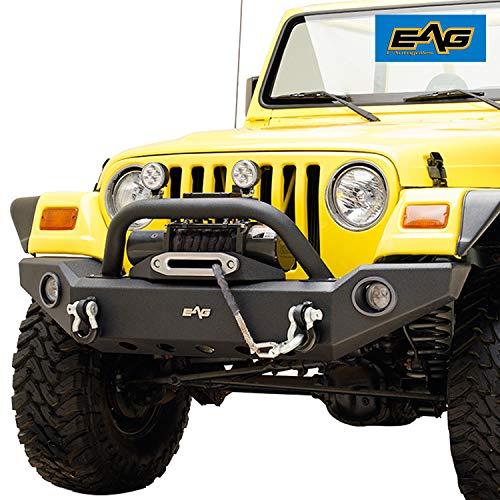 EAG Front Bumper with LED Lights and Light Frames Fit for 87-06 Wrangler TJ YJ