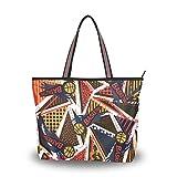 Ahomy - Bolso de playa para mujer, diseño abstracto, figuras geométricas, tamaño grande, para mujer,...