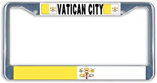 BrownInnovativeMedia Vatican City Papal Rome Flag Metal License Plate Frame Holder Chrome