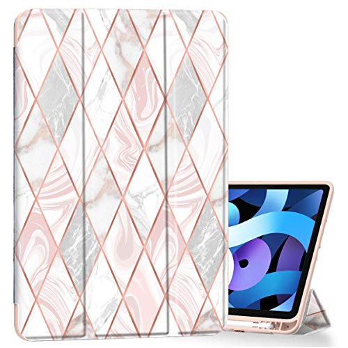 ZHK iPad 8th/7th Generation Case, iPad 10.2 2020 (2019) Case with Stand, Slim Trifold Full-Body Protective Smart Cover with Pencil Holder & Auto Sleep/Wake – Rose Gold Marble