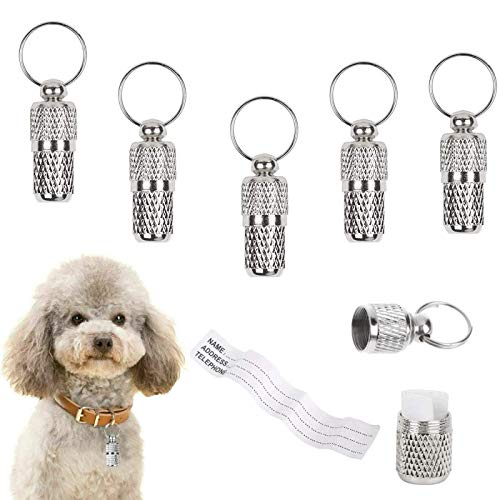 Yitaocity 5Pcs Anti-Lost Stainless Steel Pet Puppy ID Tube Tag Barrel Tube Collars for Dog Cat Address Name Label Tube Pet Gift Tag Supplies Prevent Pet Lost