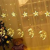 LED Lichterketten 3,5 m Star Moon LED Vorhang Lichter Girlande Hochzeit Dekorationen 8 Modi für Ramadan, Weihnachten, Hochzeit, Party, Zuhause, Terrasse,Warmweiß