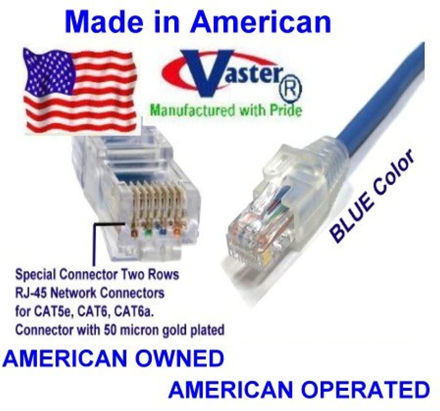 SuperEcable - USA-0670 - 12 Ft UTP Cat5e - Made in USA - BLUE – UL 24Awg Pure Copper – Ethernet Network Patch Cable