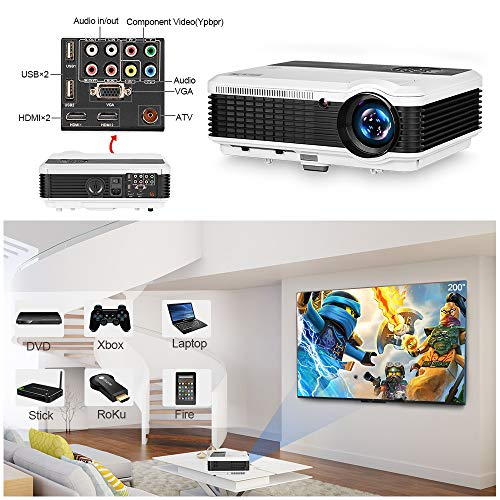EUG LCD Digital HD Video Projector 1080P Support 1280x800 Native Wxga...