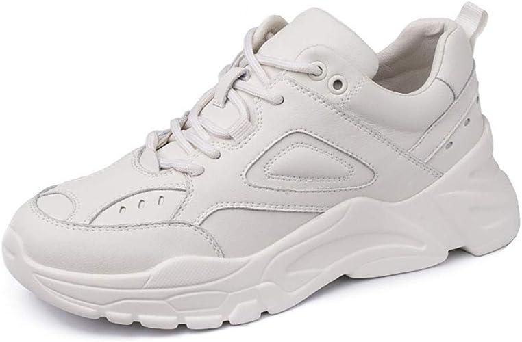 HRN Chaussures pour Femmes en Cuir avec Chaussures de Sport à Plateforme, Chaussures Sport décontractées à Lacets tête Ronde Printemps Neuves,Apricot,37EU
