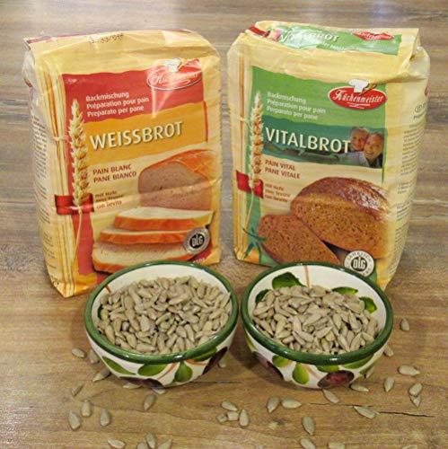 Leguana Handels GmbH 2-er Set Brotbackmischungen Vital- & Weißbrot, für insgesamt 4x750g Brot, incl. Bio-Sonnenblumenkörner