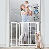 RONBEI Baby Gate for Stairs and Doorways, 35''-37.8''/ 29.53''- 32.28'' Auto Close Indoor Safety Gates for Kids/Dogs, Easy Walk Thru Metal Child Gate with 5.5'' Extension,4 Mounting Kit