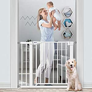 """RONBEI Baby Gate for Stairs and Doorways, 35""""-37.8""""/ 29.53""""- 32.28"""" Auto Close Indoor Safety Gates for Kids/Dogs, Easy Walk Thru Metal Child Gate with 5.5"""" Extension,4 Mounting Kit"""