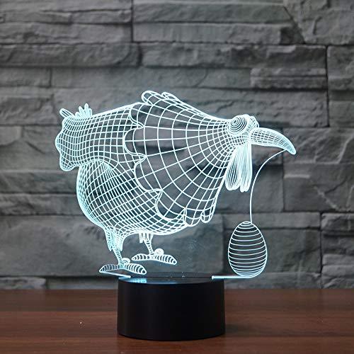 3D optische illusie lampen henne legt eieren bureau tafellamp 7 kleuren touch lampen voor kinderen slaapkamer verjaardagsgeschenk geschenk met USB-kabel afstandsbediening