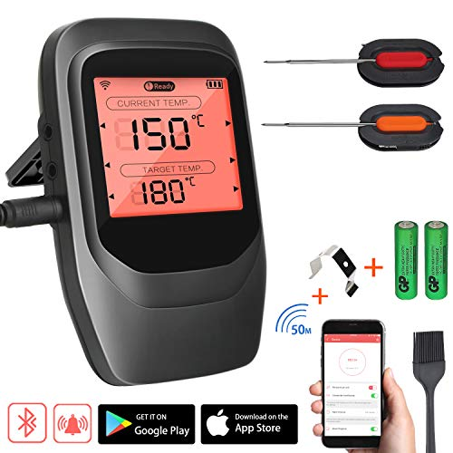 Familybox Grillthermometer Funk,BBQ Thermometer Bluetooth,Wireless Fleischthermometer Digital mit 2 Sonden,Rechtzeitiger Alarm und LCD-Anzeige, Unterstützt IOS Android für Küche Grill Backen