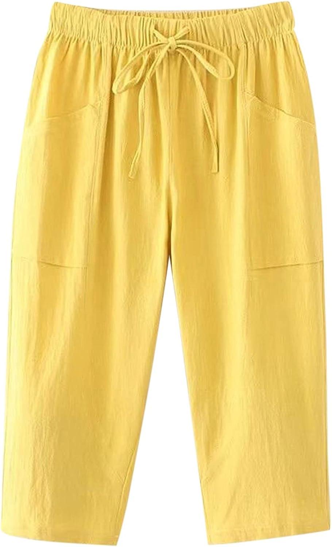 YUNDAN Cotton Linen Pants for Quality inspection Hight Quality inspection Waist Elastic Womens Drawstr