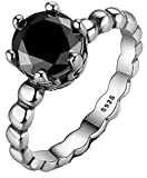 SaySure- 925 Sterling Silver Ring with Black Cubic Zirconia -