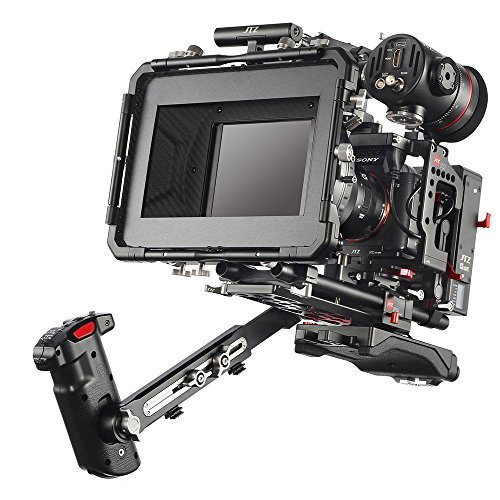"""JTZ DP30 Camera Cage with 15mm Rail Rod Baseplate Rig&Top Handle+ Shoulder Pad&Electronic Grip+ Follow Focus+ 4×4"""" Carbon Fiber Matte Box for Sony A7,A7II,A7R,A7RII,A7S,A7SII DSLR Camera"""