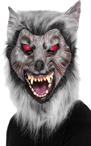 Smiffys-26487 Careta de Lobo merodeador, para la Cabeza, ltex, Color Gris, Tamao nico (Smiffy'S 26487)
