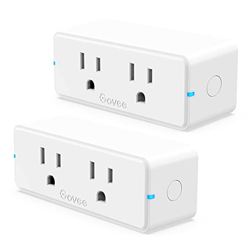 Govee Dual Smart Plug 2 Pack 15A WiFi Bluetooth Outlet Work with Alexa and Google Assistant 2-in-1 Compact Design Govee Home App Control Remotely with No Hub Required Timer FCC and ETL Certified