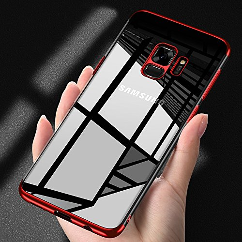 Kompatibel mit Galaxy S9 Hülle,Handyhülle Galaxy S9 Silikon Hülle TPU Bumper Case Tasche,Crystal Clear Ultra Dünn TPU Silikon Schutz Handytasche SchutzHülle für Galaxy S9,Rot