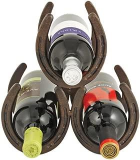 Foster & Rye 2324 Horseshoe 3 Bottle Metal Wine Rack, Rust, Set of 1