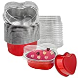 Valentine Aluminum Foil Cake Pan Heart Shaped Cupcake Cup with Lids 100 ml/ 3.4 ounces Disposable Mini Cupcake Cup Flan Baking Cups Pan with Lid for Mother's Day Christmas Birthday (red,20 Packs)