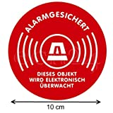 Aufkleber Alarmgesichert Kreis 10 cm