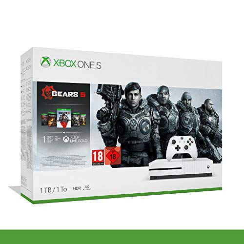 Xbox One S - 1TB Bundle Gears of War 5 - Inclusi Gears of War 2, 3, 4 + 14 Days Live Gold + 1 m Gamepass - Bundle - Xbox One [Importación italiana]