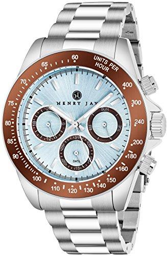 """Henry Jay pour homme en acier inoxydable multifonction """"Specialty Aquamaster"""" montre avec Gmt-day-date et affichage de tachymètre"""