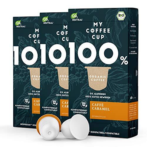 My Coffee Cup – CAFFÈ CARAMEL – BIO-KAFFEE 3 PACKUNGEN I 30 Kaffeekapseln für Nespresso®³-Kapselmaschinen I 100% industriell kompostierbare Kaffeekapseln – 0% Alu I Nachhaltige Kaffeekapseln