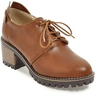 Women's Chunky High Block Heels Oxfords Shoes Wingtip Vintage Lace-up Casual Dress Oxford Pump Brogue