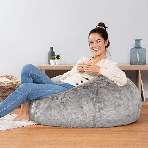 Icon Klassischer Sitzsack aus Kunstpelz, Sitzsäcke für das Wohnzimmer, 85cm x 50cm, Groß, Stuhl für das Schlafzimmer (Arktischer Wolf Grau) - 6