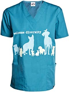 Dog is Good Welcome Diversity Unisex Scrub Top - Great Gift for Dog Lovers