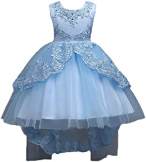 Lace Embroideried Party Train Flower Girls Dress