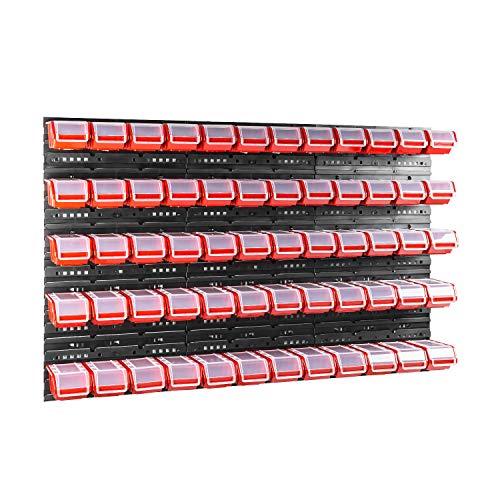 60 stck. Box mit Deckel + Wandregal 120 x 80 cm, Stapelboxen Schüttenregal Sichtlagerkästen Lagersystem
