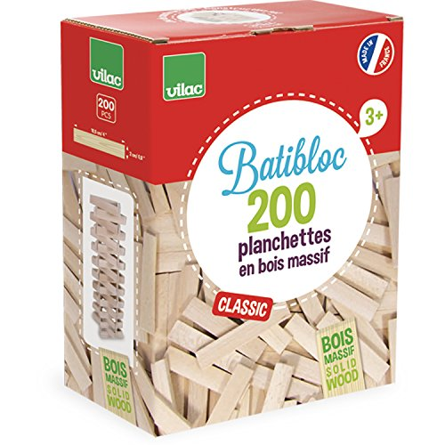 VILAC - jouet en bois - Jeux de construction - BATIBLOC CLASSIC 200 Planchettes en bois massif -2134