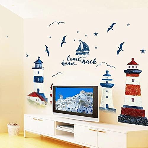Mar Velero Faro Pegatinas De Pared Decoración De Fondo Dormitorio Sala De Estar Tv Sofá Mural Papel Tapiz Calcomanías De Arte Pegatina