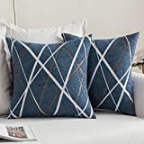 MIULEE Pack of 2 Decorative Throw Pillow Covers Woven Textured Chenille Cozy Modern Concise Soft Peacock Blue Square Cushion Shams for Bedroom Sofa Car 18 x 18 Inch