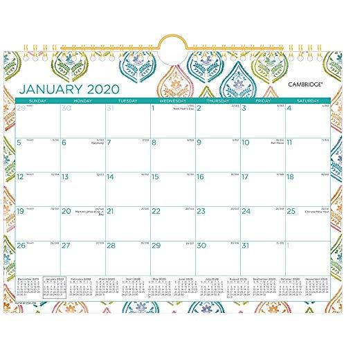 Calendario de pared 2020, calendario mensual Cambridge, 11 pulgadas x 8 1/2 pulgadas, pequeño, Anna (W1258-709)